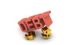 Débito e dólar Fotografia de Stock