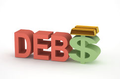 Débito e dinheiro Imagem de Stock Royalty Free