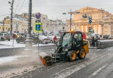 Déblaiement de neige à Moscou Photographie stock libre de droits