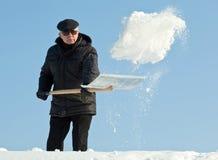 Déblaiement de neige manuel photo libre de droits