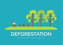Déboisement de question dans le concept plat de fond de conception Problème naturel écologique Icônes pour votre produit ou illustration stock