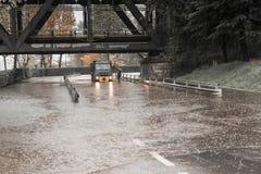 Débordement de Tessin de rivière en Sesto Calende, Varèse Photos stock
