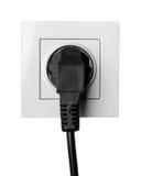 Débouché électrique d'isolement sur le fond blanc Photographie stock libre de droits