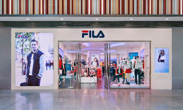 Débouché de Fila, centre commercial de Livat, Pékin, Chine Photographie stock libre de droits