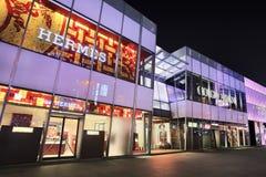 Débouché de Hermes la nuit, Dalian, Chine Photos libres de droits
