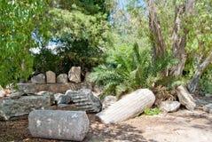 Débris des colonnes antiques au parc extérieur de Carthage photos libres de droits