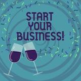 Début d'écriture des textes d'écriture vos affaires L'entrepreneur de signification de concept organiser de petits démarrages d'o illustration stock