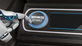 Début d'affaires de bouton de main de robot photographie stock libre de droits