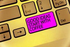 Début d'idées des textes d'écriture bon avec du café Les amants de caféine de signification de concept commencent jour avec lui p photo libre de droits