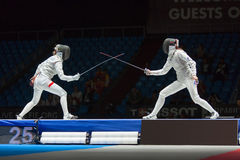 Début de fightl sur le championnat du monde dans la clôture Image stock