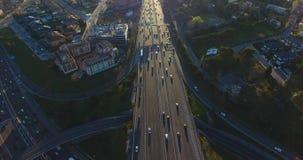 Début de la matinée aérien de tir de route de ville de Madrid