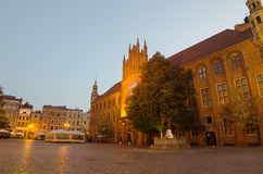 Début de la matinée dans la vieille ville de Torun, Pologne Images stock