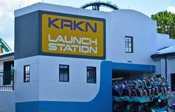 Début de station de lancement de Kraken de voyage chez Seaworld photos stock