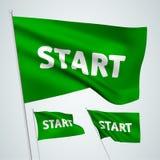 Début - drapeaux verts de vecteur Photo stock