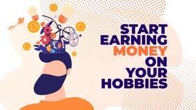 Début plat de bannière gagnant l'argent sur vos passe-temps illustration de vecteur