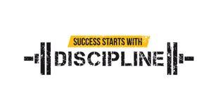 D?buts de succ?s avec la citation de motivation de gymnase de discipline avec le barbell et l'effet grunge Motivation de sport Ca illustration stock
