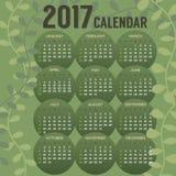 2017 débuts imprimables dimanche de calendrier illustration stock