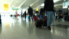 Décalage d'inclinaison de région d'enregistrement de voyageurs d'aéroport banque de vidéos