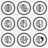 Décalez le globe, le globe et l'horloge, et le téléphone, et la rangée, et la rangée Photo stock