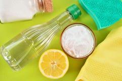 Décapants naturels. Vinaigre, bicarbonate de soude, sel et citron. Photographie stock libre de droits