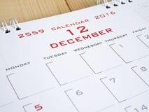 2016 décembre à la page 1 de calendrier Photo libre de droits