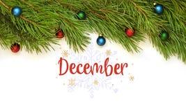 décembre Branchement d'arbre de Noël illustration de vecteur