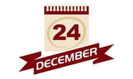 24 décembre calendrier avec le ruban Photo stock
