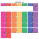 décembre 2018 grands jours de la semaine de couleur de l'espace de note de planificateur sur le blanc Photo stock