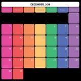 décembre 2018 jours de la semaine spécifiques de couleur du grand espace de note de planificateur Photo stock