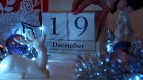 19 décembre la date bloque Advent Calendar banque de vidéos