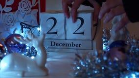 22 décembre la date bloque Advent Calendar banque de vidéos