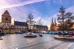 4 décembre 2016 : Le centre de Roskilde, Danemark Photo stock