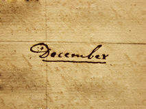 Décembre manuscrit Photos stock