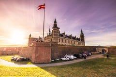 3 décembre 2016 : Panorama du château de Kronborg avec des rayons Photographie stock libre de droits