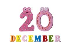 20 décembre sur le fond, les nombres et les lettres blancs Photographie stock libre de droits