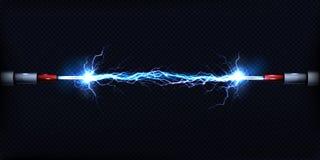 Décharge électrique entre le vecteur de cables électriques illustration de vecteur