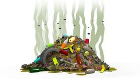 Décharge de déchets avec des mouches, illustration 3d Photographie stock libre de droits