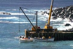 Déchargement des approvisionnements à l'Île Norfolk Photos libres de droits