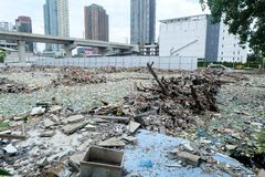 Déchets d'ordure à Bangkok central le 19 juin 2015 Photo stock