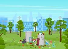 Déchets de bande dessinée en affiche de carte de parc Vecteur illustration libre de droits