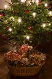 Déchets de empaquetage sous l'arbre de Noël photographie stock