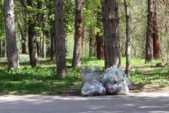Déchets de déchets en parc complètement de toute la sorte de déchets Pollution en plastique sur l'environnement Sachets en plasti photo stock