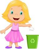 Déchets de lancement de bande dessinée de jeune fille dans le bac à ordures illustration de vecteur