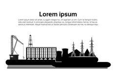 Déchets de tuyau d'usine de pollution de nature de bâtiment d'usine silhouette d'une plate-forme de forage de forage de pétrole s Photos stock