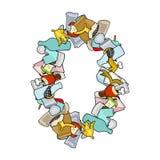 Déchets du numéro 0 Signe de la police zéro de déchets symbole d'alphabet de déchets illustration libre de droits