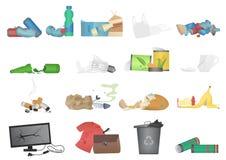 Déchets et illustration réaliste de rebut de vecteur d'ensemble d'icônes illustration libre de droits