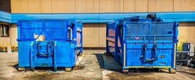 Déchets industriels de compresseur de déchets de conteneur de presse images libres de droits