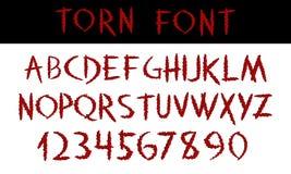déchiré Calligraphie rouge de police d'affichage écrite par main ABC Alphabet et nombres colorés décoratifs rayés de vecteur Coup Photos stock