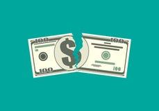 Déchirement du billet de banque d'argent dans deux paix Photographie stock