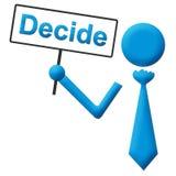 Décidez l'icône humaine bleue tenant l'enseigne illustration libre de droits